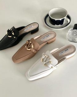 Butterfly Gold Buckle Mules