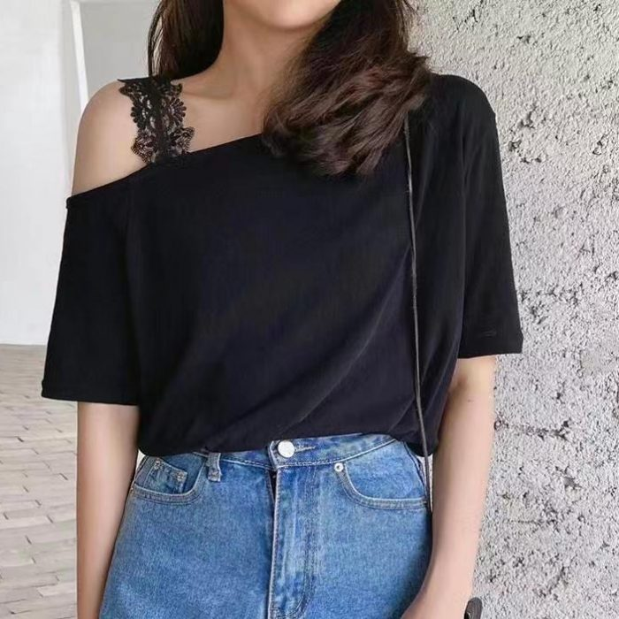 Single Lace Strap Offshoulder Tee
